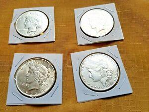 Lot of 4 uncirculated AU+ BU  Peace & Morgan silver dollars. 1922 35 23 1878