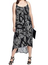 City Chic Strappy V Neck Print Dress Black 22