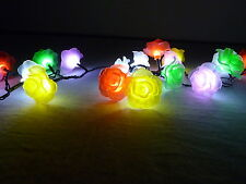 100 LED 10.9M MULTI-COLOURED ROSE SOLAR CHRISTMAS OUTDOOR GARDEN LIGHTS