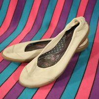 Ballet Flats Slip On Shoes Terrasoles Womens Sz 8 Comfort Tan Canvas