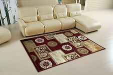 MODERN SMALL LARGE BROWN RED WARM  RUGS ALL FLOORS LUXURIOUS RUG 3D CARVED