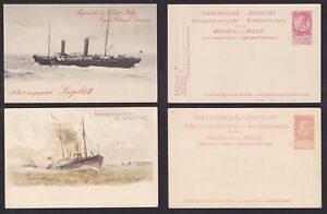 Belgium 1904 Lot of 2 Unused Illustrated Postal stationery PAQUEBOT CARD...A5907
