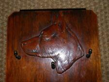 More details for antique treen wall hanging german shepherd dogs head 3 lead hooks plaque