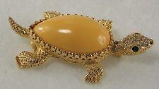 DeNicola Turtle Brooch Smooth Peach Shell Green Rhinestone Eyes Vtg Gold Metal