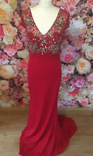 Gino Cerruti Long Scarlet Red Silver Beaded Prom Evening Gown Dress 14