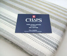 Chaps Home Multi Colors 100% cotton Brown Gray Stripe Full Queen Blanket New