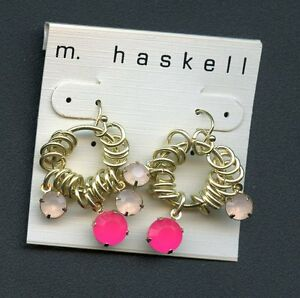 m. haskell Earrings pink/gold color