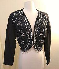 Vintage Black Bolero open jacket by JOUJOU, beads & pearls, size M