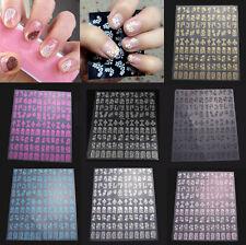 108pcs 3D Flower Design Nail Art Manicure Tips Stickers Decals DIY Decoration
