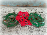 vintage faucet handles 3 spigot Christmas green red steampunk