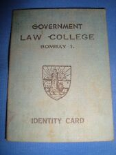 Old Vintage Government Law College Identity Card from India 1954