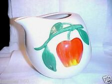 Vintage Pippin Pottery USA Apple Water Pitcher-Milk Jug-White-Red-Green-Yellow