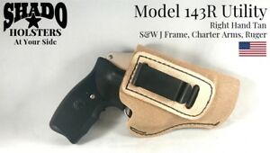 SHADO Leather Holster USA Utility Model 143R Right Hand Tan fits S&W J Frame