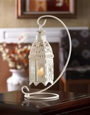 8 White Fancy Candle Lamp Lanterns on Stand w/ Lattice Pattern & Pressed Glass