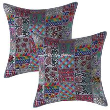 Decorative Throw Pillow Covers Grey 24x24 Vintage Patchwork Boho Cushion Covers