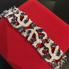 68.18ctw Natural Sapphire Sterling Silver Bangle Bracelet