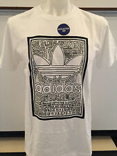 ADIDAS DOODLE FILL WHITE GRAPHIC TEE T SHIRT MENS SIZE LARGE NWT