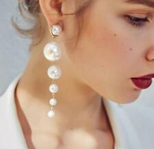 Newest Lady Big Simulated Pearl Long Tassel Statement Drop Dangle Earring Gift