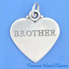 """""""BROTHER"""" TWO-SIDED HEART .925 Sterling Silver Charm Pendant"""