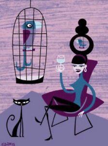 """The Bird Chair"" By SHAG Josh Agle, 7 Color Serigraph Art Print 2000"