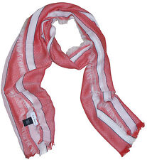 PAUL SMITH STRIPED PALE RED COTTON (feels like silk) SCARF BNWT made in Italy