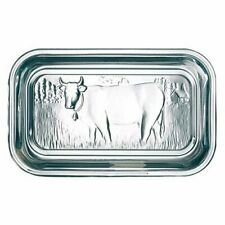 Luminarc Cow Butter Dish Tray Storage Holder With Lid Embossed Clear Glass New