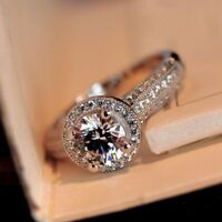 Women Fashion 925 Silver Round White Sapphire Wedding Band Ring Jewelry Size6-10