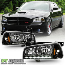 Black 2006-2010 Dodge Charger LED DRL Headlights w/Built In Corner Signal Lamps