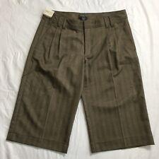 Banana Republic Martin Fit Shorts Size 12 Brown Herringbone Pleated Dress NWT