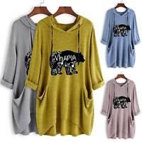 Women's Oversized Pullover Jumper Hoodie Hooded T Shirt Sweatshirt Tunic Tops US