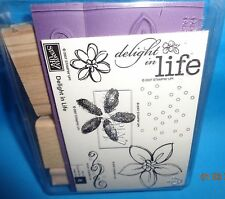 STAMPIN' UP NEW SET of 6 DELIGHT IN LIFE WOOD MOUNTED RUBBER STAMPS 2007 RETIRED