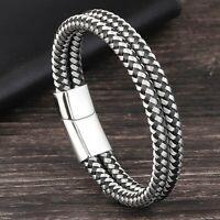 Bracelet pour homme femme tressé acier inoxydable et cuir noir 21 ou 19 cm
