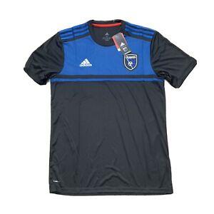 NEW Adidas San Jose Earthquakes Jersey Mens M Black Blue MLS Soccer $85