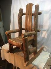 Rustic Cedar Fir  Twig Log Childs Rocking Chair Mid Century Cottage County Cabin