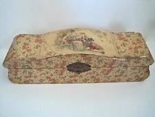 Vintage Wood Lacquered Chest Jewelry Box Victorian Colonial Courting Couple