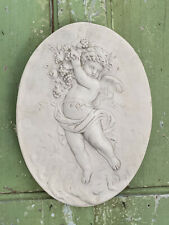 Architectural Oval CHERUB Angel Ornate Plaster WALL PLAQUE  35cm Tall x 26 Wide