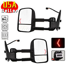 Tow Mirrors for 07-14 Chevy Silverado 1500 2500 3500 Power Heat LED Turn Signals