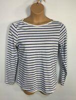 WOMEN FAT FACE SIZE UK 10 WHITE&BLUE STRIPE CASUAL LONG SLEEVE BOAT NECK T SHIRT