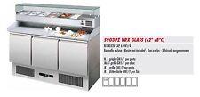 Banco Pizza Refrigerato Inox 3 Porte con Vetrina Refrigerata  - Piano in granito