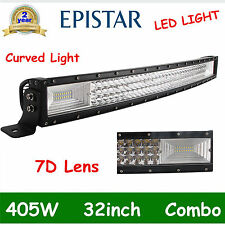 CURVED 7D+ TRI-ROW 32INCH 405W LED LIGHT BAR DRIVING OFFROAD SPOT&FLOOD PK 180W