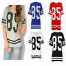 Womens Ladies American Football Baseball 85 Varsity T-shirt Jersey Top Size 8-14