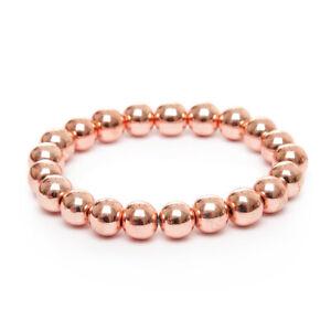 Stretch Bracelet Beaded Unique Rose Gold Hematite Healing Energy UK Made