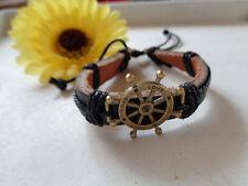 Leder Armband schwarz Schiffssteuerrad Bronze mit Schiebeknoten