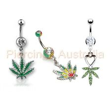 Pot Leaf Weed Marijuana Belly Button Navel Ring Dangle Body Piercing Jewellery