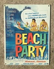 Beach Party Vintage Movie Poster Surf Surfboard Frankie Annette on Steel 12x16