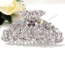 Fashion Bridal Dual Butterfly White Silver Metal Hair Claw Clip Pins Durable NEW