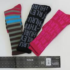 HURLEY SOCKS  70% COTTON,20% NYLON & 10% SPANDEX SIZE: 0/S 3 PACK