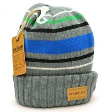 Winter Urban Pipeline Men Beanie Gray Blue Black Green Stripes Reversible 0119