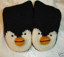 deLux ~ ADULT PENGUIN MITTENS knit hockey fan animal gloves costume FLEECE LINED