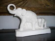 Couple Éléphant en Porcelaine Craquelée Art Deco - signe L. Francois